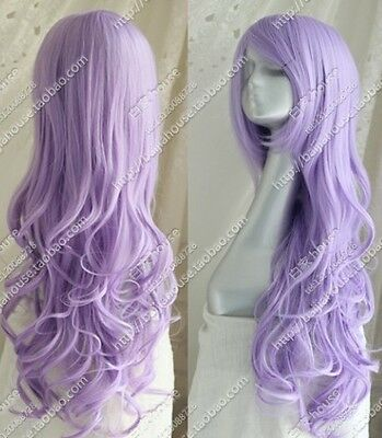 2017 Cos light purple long curly cosplay full Heat-Resistant  wig