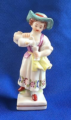 Old Porcelain Royal Vienna Miniature Girl with Pitcher Figurine...Mint!