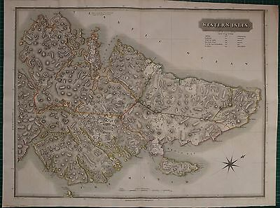 1822 Large Dated Map Western Isles North John Thomson Atlas Scotland Stornoway
