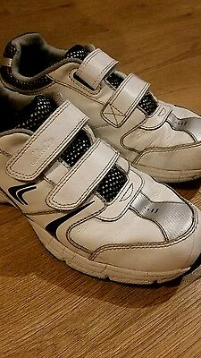 Boys Clarks white trainers school PE shoes, size 2.5 G