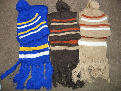 Lovely Ex M&s Childrens Striped Bobble Hat And Fringed Scarf Sets
