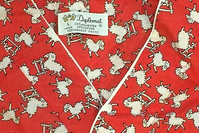 """Vintage Mens Diplomat """"counting Sheep"""" Flannel  Nightshirt!  Size L"""