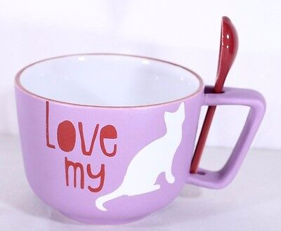 I Love My Cat Coffee Soup Mug Cup w Spoon By Holiday Stoneware Microwave DW Safe