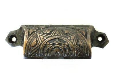 Solid Brass DARKENED Bin Pull Antique Hardware replica Victorian vintage style