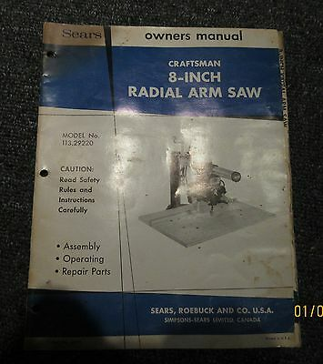 Craftsman Model 113.29220 8 inch Radial Arm Saw Owners manual parts list