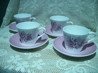 Royal Tuscan Bone China Retro Demitasse Set For 4 - Forest Glade - Vgc