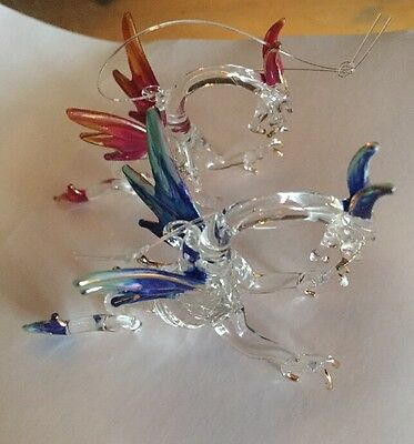 2 Mystical Fantasy Dragons Hand Blown Glass Hanging Ornaments NEW