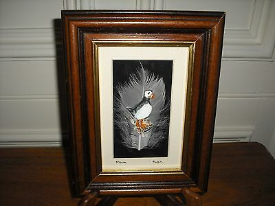 Unique Swan Feather Hand Painted Puffin Framed Picture Made in Scotland