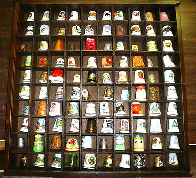 Vintage Collectible Sets of 100 Thimbles in Hanging Display Cases