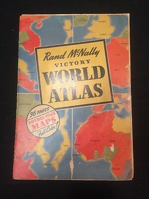 "Vtg WW2 1943 Rand McNally Victory World Atlas Map Color US Europe Japan 16""x11"""