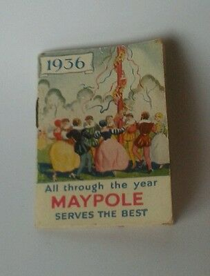 Miniature Maypole dairy advertising calender booklet for 1936.