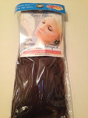 New 100% Real Human Hair Full Head Clip In Hair Extensions 18 Inches Dark Brown