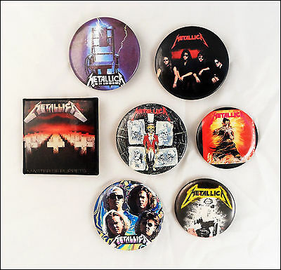 Metallica 80's Lot Of 7 Buttons Pins / Master Of Puppets