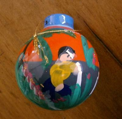 Colorful, Hand-Painted Ornament POTTERY BALL from CANCUN Orange