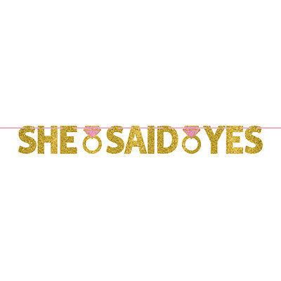 She Said Yes Ring Wedding Engagement Gold Glitter Banner  Party Decoration