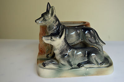 Australian Pottery Lustre Ware Twin Dogs Squat Vase Wembley Ware