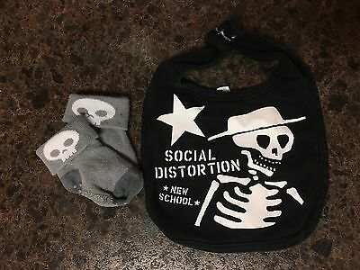 Social Distortion Baby Bib And Skull Socks Black Grey Skeleton