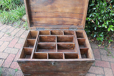 Old Antique Vintage Trunk Chest Wooden Teak Storage Sewing Box Side CoffeeTable