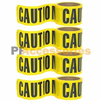 "4 Rolls 100 FT x 3"" inch CAUTION Barrier Tape Yellow Waterproof Vinyl Ribbon"