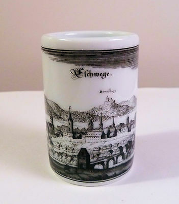 Ceramic TOOTHPICK Holder Germany UHLENHORST mfg. 1970s City Scene Eschmege
