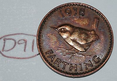 1938 Great Britain Farthing UK Coin KM# 843 Lot #D91