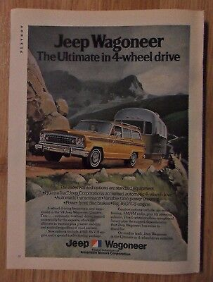 1973 Print Ad Jeep Wagoneer Truck ~ Towing an Airstream Trailer up a Mountain