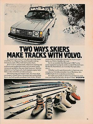 Vintage 1980 Volvo car skiing  print ad  Great to frame!