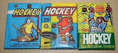 3 in Total Hockey Wax Packs O-Pee-Chee 1982-83 and 1983-84 and Topps 1990-91