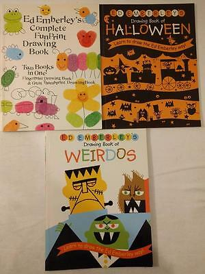 WN LOT 3 Ed Emberley's Drawing Books Complete Fun Print Halloween Weirdos Kids
