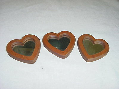 SET OF 3 WOOD FRAMED HEART MIRRORS  Home Interior