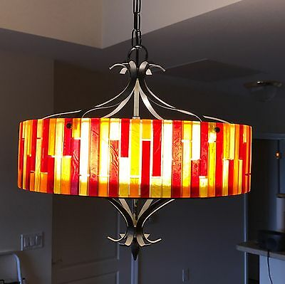 Vintage MOE Light in Clear, Orange, Red, and Yellow Lucite, Black Metal
