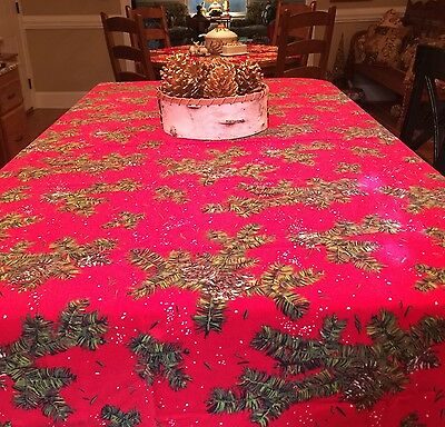 "Vintage Christmas Tablecloth Red Pine Tree Branches 52"" X 87"""