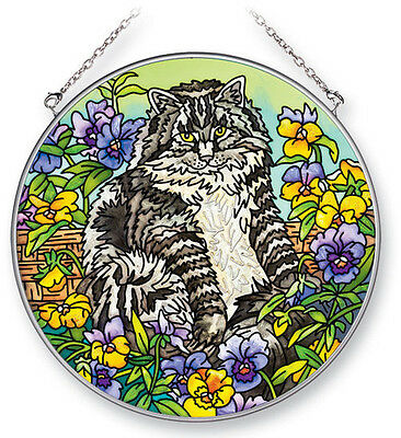 "CATS Pansy Pansies Tabby Sun Catcher NEW Hand Painted 6 1/2"" Round Amia Kitty"