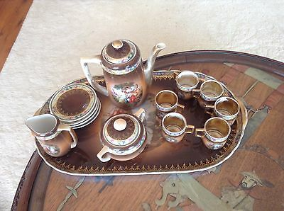 antique  china tea set on tray Victoria China Czchoslovakia