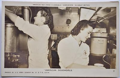 WWII US Army American Doughgirls Red Cross Clubmobile Baker RPPC Photo Postcard