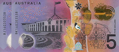 Very RARE New $5 2016 Australian Bank Note 3538 same Number Uncirculated