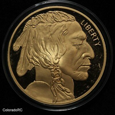 4.1 oz Gold Plated Buffalo .999 Silver Round