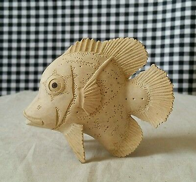 Light Wood Fish Carving, Tropical Marine Sea Beach Ocean Decor, Lifelike Detail