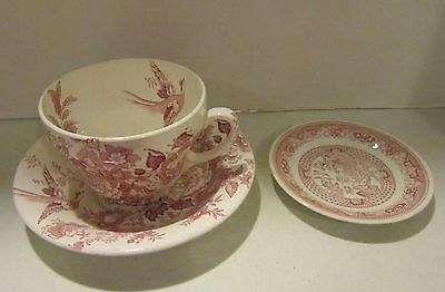Vintage Maling Jumbo Ware red transferware cup & saucer + unmarked dish - VGC