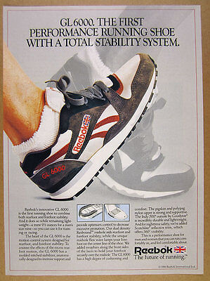 1986 Reebok GL6000 Running Shoes color photo vintage print Ad