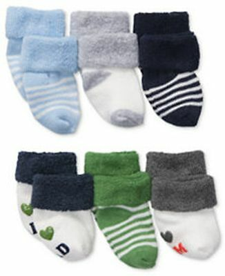 New Carter's 6 Pack Socks 0-3m NWT Terry Cuff I Love Dad Mom Stripes