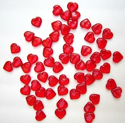 VALENTINE RED SHINY HEARTS TABLE SCATTER DECORATIONS 100 Red Hearts NEW