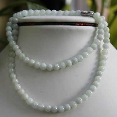 Untreated 100% Natural Beautiful Jadeite Jade Beads Necklace * 5.7mm * 19.5""