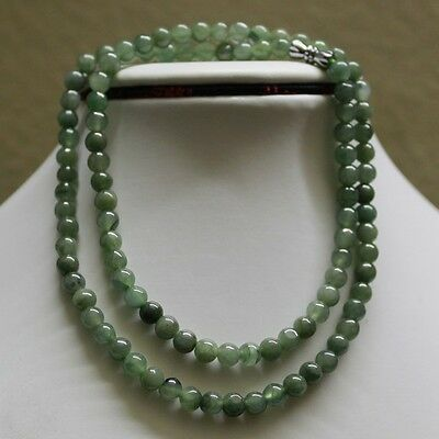 100% Natural (Untreated) Green Jadeite Jade Beads Necklace ** 6mm, 21""
