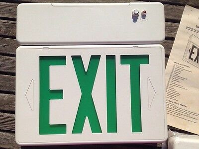 Lithonia EMERGENCY Systems EXIT Sign Green W/ Battery Backup 120/277 VOLTAGE NEW
