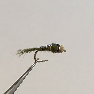 12 x BEADHEAD OLIVE FLASHBACK NYMPH TROUT FISHING FLIES - MIXED SIZES 12, 14, 16