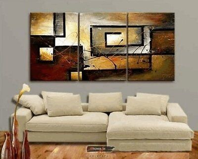 Large Modern Contemporary 3-Piece Oil On Canvas Painting Abstract Wall Art Gift