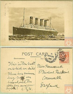Angleterre - PAQUEBOT - AQUITANIA - Posted at Sea 1914 - New York N.Y.2