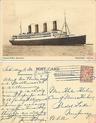 Angleterre - PAQUEBOT - AQUITANIA - Posted at Sea 1926 - New York N.Y.2
