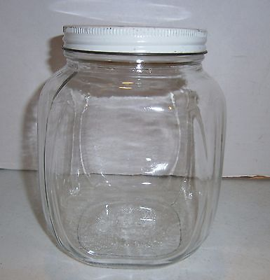 Vintage square art deco wide mouth clear glass jar w off-white metal lid - VGC